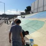 People painting whitsett mural