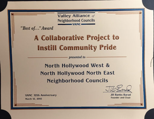 Valley Alliance of Neighborhood Councils Award for a collaborative project to instill community pride