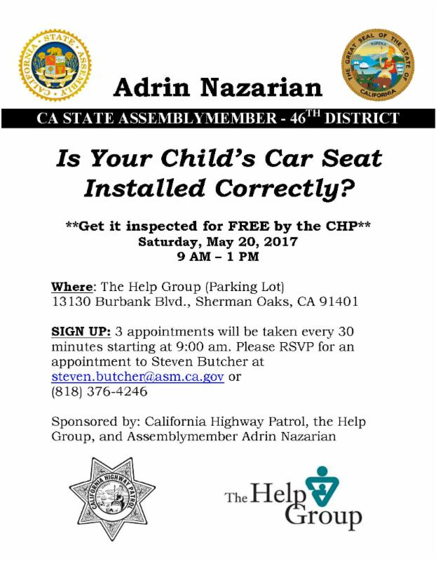 Is Your Childs Car Seat Properly Installed Get A Free Inspection By Certified California Highway Patrol Officer To Inspect For