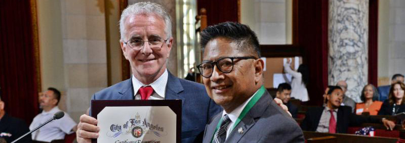 Councilmember Krekorian Awards NHNENC President Ernie Moscoso on Veteran's Day