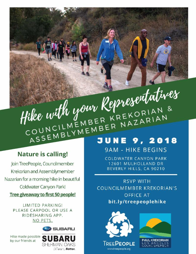 Hike with representatives Krekorian and Nazarian
