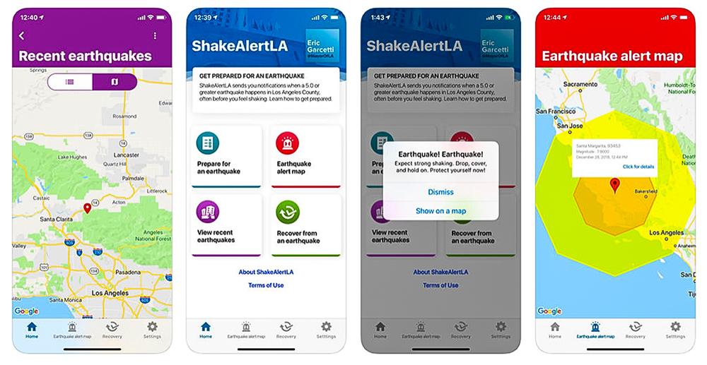 ShakeAlertLA app screen shots