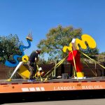 Lars Hawkes sculptures loaded up to be installed